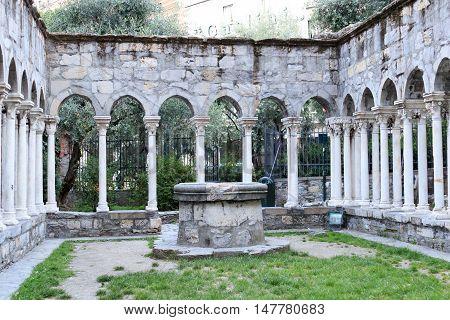 St. Andrews Cloister In Genoa, Liguria, Italy