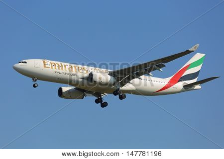 BUDAPEST, HUNGARY - OCTOBER 18: Emirates Airbus A330 landing at Budapest Airport, October 18th 2014. This was the first ever Emirates flight to Budapest.