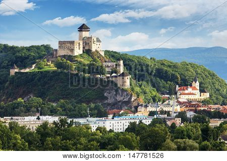 Trencin castle in Slovakia at a day