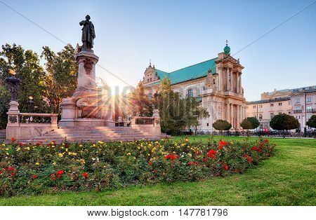 Warsaw - Adam Mickiewicz monument at Krakowskie Przedmiescie Street Poland