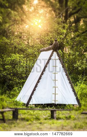 The white tent stands in the forest on the background of sunset. Effect tilt-shift.