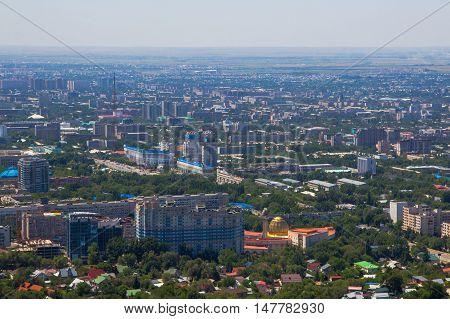 Panoramic aerial view of Almaty city Kazakhstan