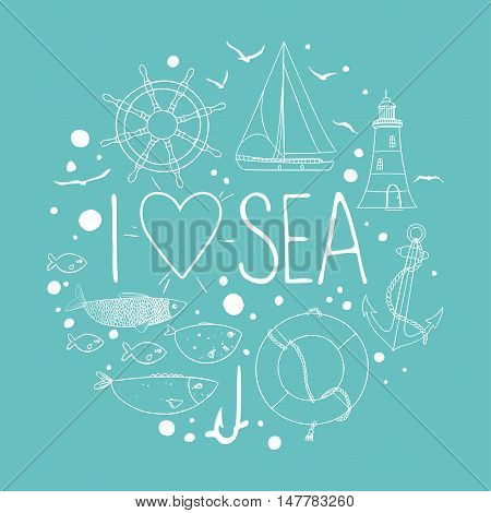 Collection of nautical elements in a circle shape. There are lighthouse, seagull, sailboat, life buoy, fish, anchor and wheel. Contour drawing on a turquoise background. Vector illustration.