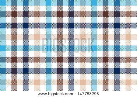 Blue beige check plaid seamless pattern. Vector illustration.