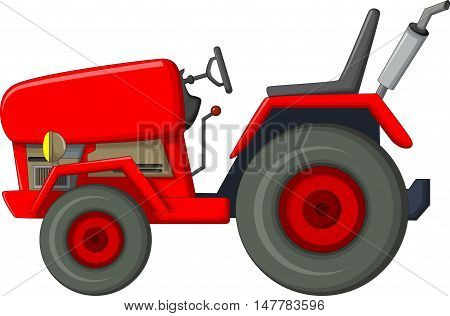 cute red tractor cartoon for you design