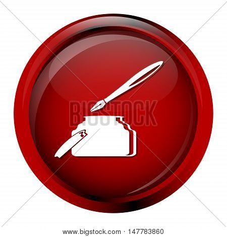 Quill pen and ink bottle icon vector illustration