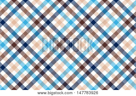 Blue beige diagonal check seamless pattern. Vector illustration.