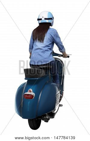 Young Asian Woman Wearing Helmet Sitting On An Old Scooter