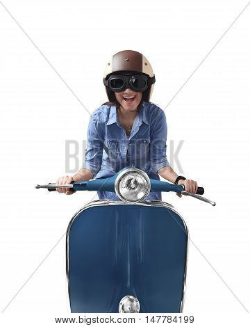 Asian Woman Using Helmet Driving Blue Retro Motorcycle