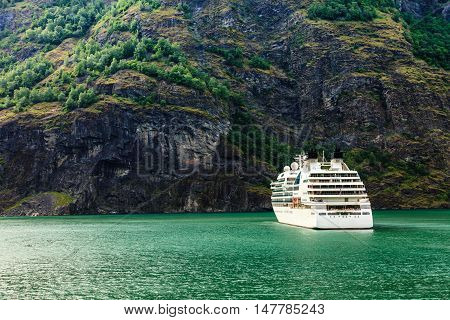 Cruise Ship Ferryboat On Norwegian Fjord