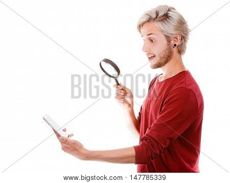 Man Reading Message On Phone Using Loupe