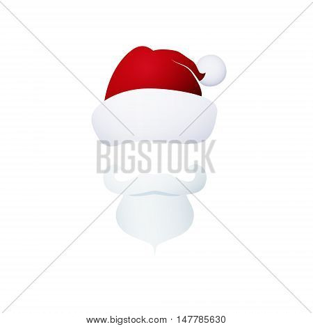 Santa Claus Face, Santa Claus with a Beard Isolated on White Background, Mustache and Hat without a Face, Christmas Decorations, Merry Christmas and Happy New Year , Vector Illustration
