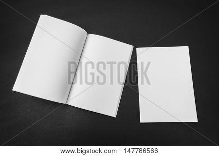 Blank catalog, magazines,book mock up on black background