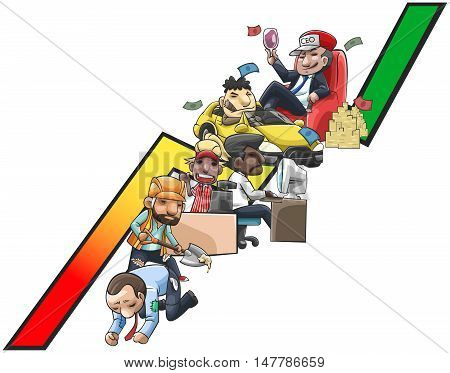 Work and wealth graph of cartoon people from poor labor and salary worker into wealthy ceo or entrepreneur create by vector