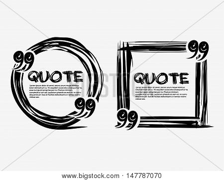 Set drawn quotes and frame. Drawn circle and square frame. Quote blank template. Empty template. Hand drawn scribble shape. Vector quote form