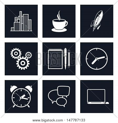 Set of Black Round Business Icons, Office Work, Team Work, Long Hours in the Office, Presentation and Discussion, Black and White Vector Illustration