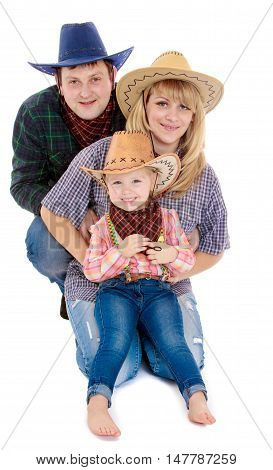 Happy family of 3 people. In the cowboy clothes-Isolated on white background