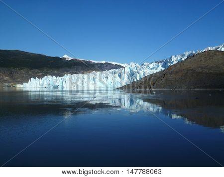 Glacier in grey lake in Torres del Paine National Park