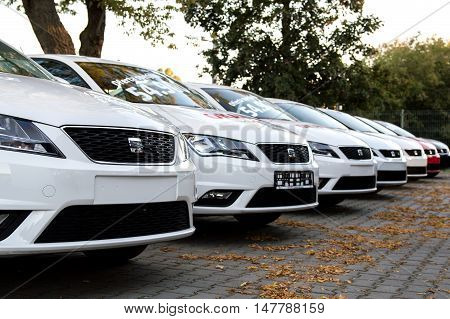 WROCLAW POLAND- SEPTEMBER 17th 2016: Several Seat cars stands on dealer parking i Wroclaw. SEAT is a Spanish automobile manufacturer with its head office in Martorell Spain.