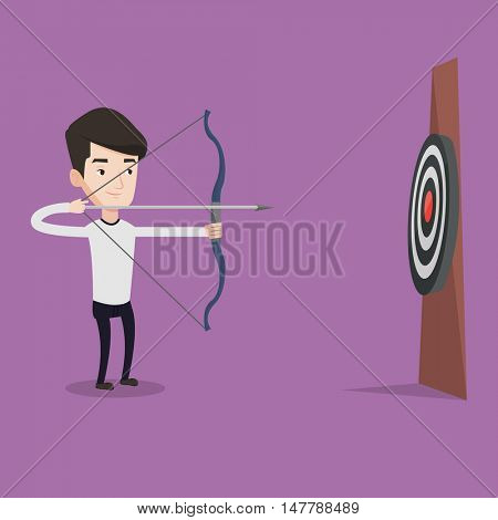 Young caucasian sportsman shooting with bows during archery competition. Bowman aiming with bow and arrow at the target. Archer practicing with bow. Vector flat design illustration. Square layout.