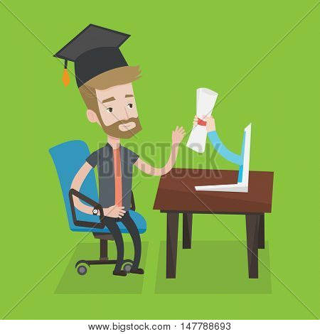 Graduate getting diploma from the computer. Happy student in graduation cap working on computer. Concept of educational technology and graduation. Vector flat design illustration. Square layout.
