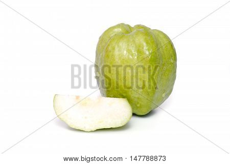Guava Fruit And A Section Isolated On White Background