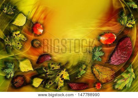 Falling leaves. gold autumn. Background image. abstract