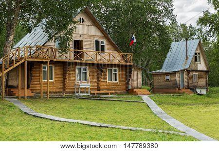 Yelizovo, Russia - August 12, 2016: Tourist base Dzenzur on Zhupanova river. Kronotsky Nature Reserve in Kamchatka Peninsula.