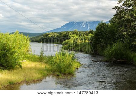 River Zhupanova. Kronotsky Nature Reserve on Kamchatka Peninsula. View from helicopter.
