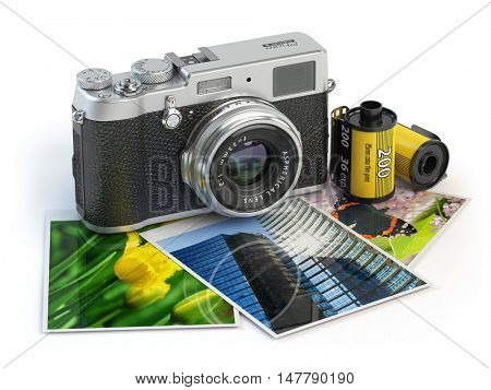 Photo camera and images and film canisters isolated on white. 3d illustration