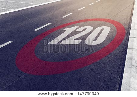 120 kmph or mph driving speed limit sign on highway road safety and preventing traffic accident concept.