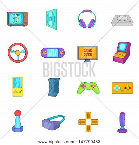 Video game icons set in cartoon style. Game controllers set collection vector illustration