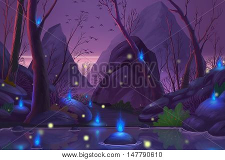 Ghost Forest. Video Game's Digital CG Artwork, Concept Illustration, Realistic Cartoon Style Background