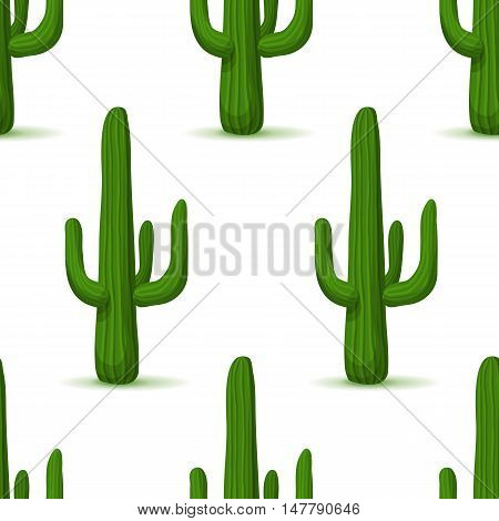 Prickly pear seamless pattern. Cactus vector background with desert plant. Green succulent on a white. Botanical illustration
