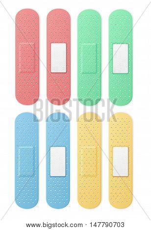 Aid Band Plaster Strip Medical Patch Set Color. Vector illustration