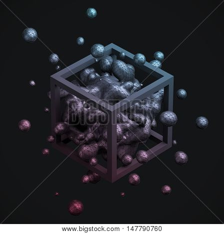 Abstract 3d rendering of chaotic liquid in cube. Background with dynamic fluid splash. Design element.