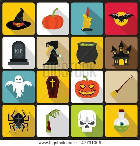 Halloween icons set in flat style. Halloween elements set collection vector illustration