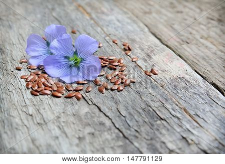 Flax seeds with flowers close up on wooden tables