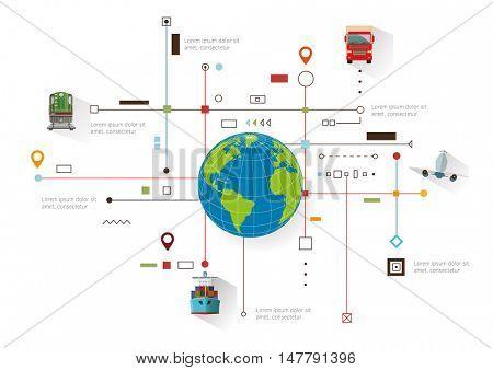 Global logistics and transportation network concept. Vector illustration.
