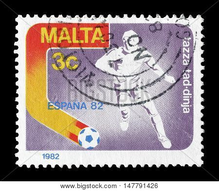 MALTA - CIRCA 1982 : Cancelled postage stamp printed by Malta, that shows Soccer player.