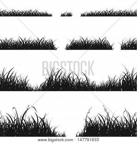 Set of Black Grass Silhouette for Your Design. Vector illustration