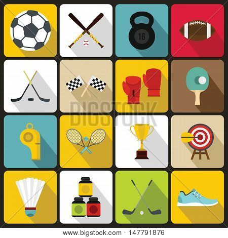 Sport equipment icons set in flat style. Sport elements elements set collection vector illustration