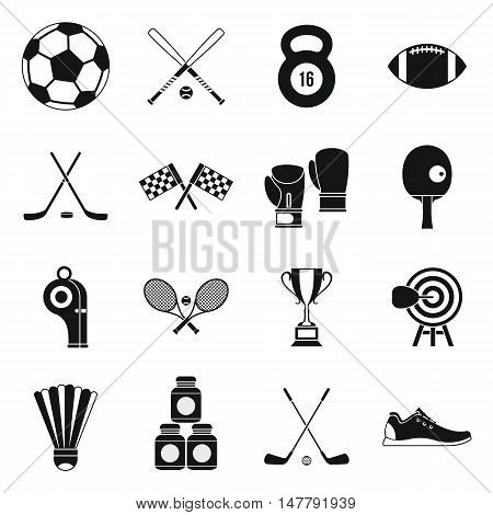 Sport equipment icons set in simple style. Sport elements elements set collection vector illustration