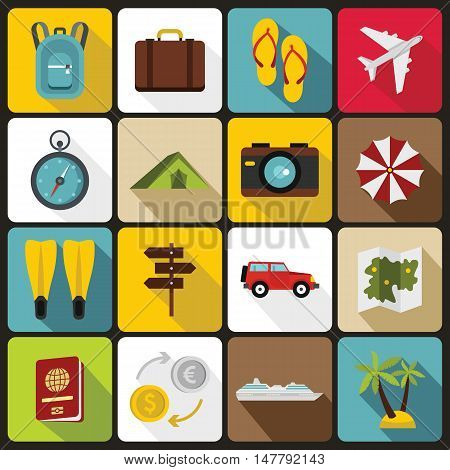 Travel icons set in flat style. Tourism elements set collection vector illustration