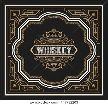 Whiskey label hand drawn vintage blackboard frame