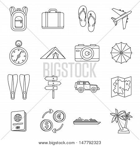 Travel icons set in outline style. Tourism elements set collection vector illustration