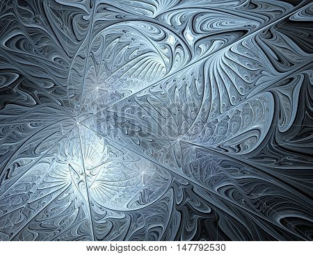 Computer-generated image of abstrakt fractal silver pattern