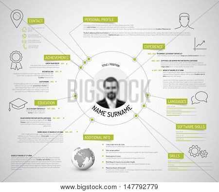Vector original minimalist cv resume template - creative version with green headings and icons