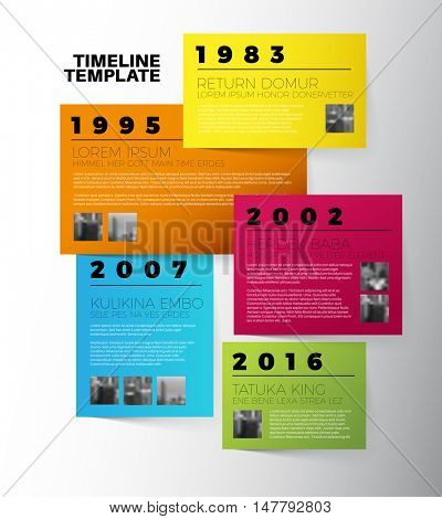 Vector Infographic typographic timeline report template with the biggest milestones, photos, years and description on color papers