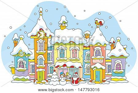Vector illustration of colorful houses covered with snow on Christmas